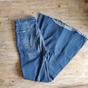 Free People Wide Leg Raw Hem Bell Bottom Jeans